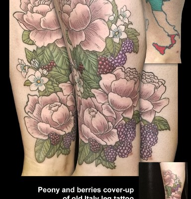 peony cover-up tattoo by Tanya Magdalena