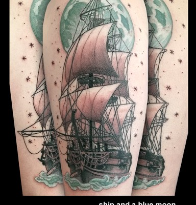 ship tattoo by Tanya Magdalena
