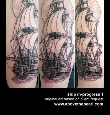 ship tattoo in progress by Tanya Magdalena
