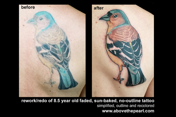 bird rework tattoo by tanya magdalena