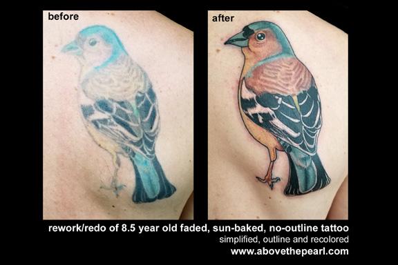 bird rework tattoo by tanya magdalena