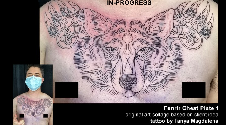 fenrir tattoo in-progress by Tanya Magdalena